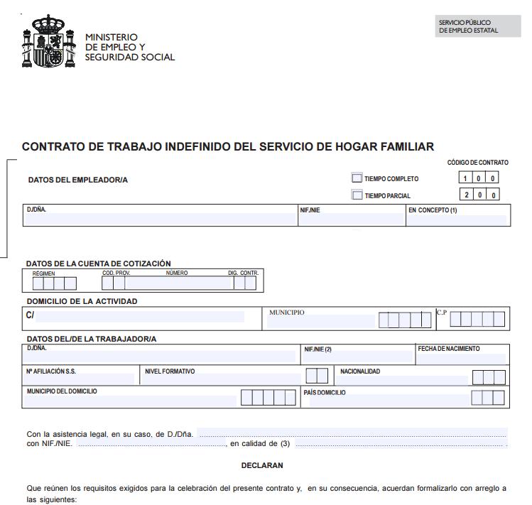 Contrato de trabajo del servicio del hogar familiar Contrato de trabajo indefinido servicio hogar familiar